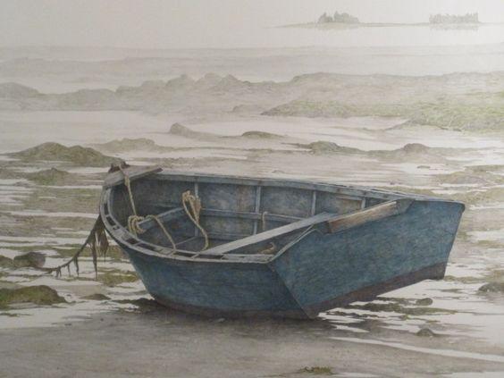 skiff in water painting